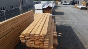 Cedar lumber in a variety of dimensions and lengths.